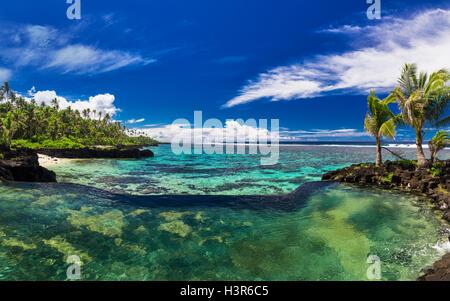 Infinity pool de roca natural con palmeras a lo largo de los océanos tropicales laguna