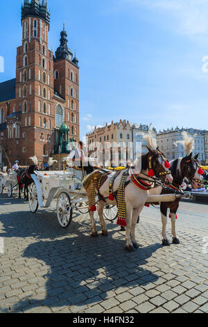 Cracovia, Polonia - sep 7, 2014: carruajes de caballos en frente de la iglesia Mariacki en la plaza principal de la ciudad de Cracovia. Tomando un paseo a caballo en un carro es muy popular entre los turistas que visitan Cracovia.