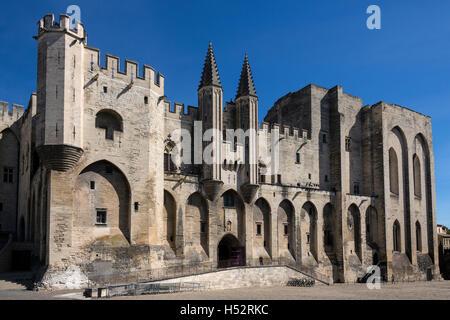 Palais des Papes de la ciudad de Avignon, en el sudeste de Francia, en el departamento de Vaucluse, en la orilla Foto de stock