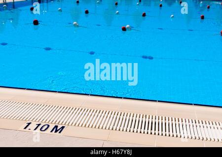 Indicador de profundidad de 1.10m a una piscina