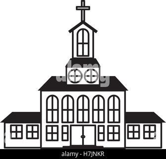 Silueta de la Iglesia, icono de edificio sobre fondo blanco. ilustración vectorial