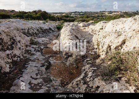 Malta carretas en 'Clapham Junction', cerca de Dingli, cientos de ramificaciones misteriosas en la piedra de Misrah Ghar il-Kbir