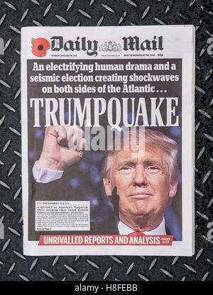 Diario Mail primera página del periódico que informa sobre la presidencia de EE.UU Resultado de las elecciones en las que Donald Trump se convirtió en el 45° presidente De los Estados Unidos