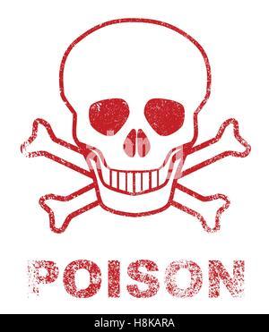 Cráneo y huesos cruzados veneno firmar como un sello de tinta roja