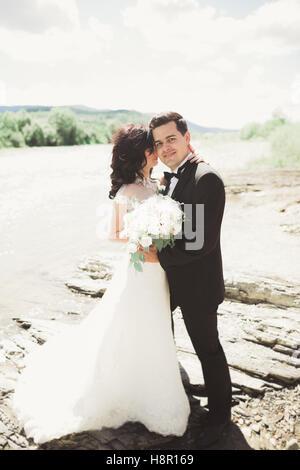 Elegante elegante feliz morena hermosa novia y novio en el fondo de una hermosa cascada en las montañas