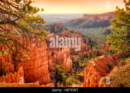 Atardecer en el parque nacional de Bryce Canyon, Utah, EE.UU.