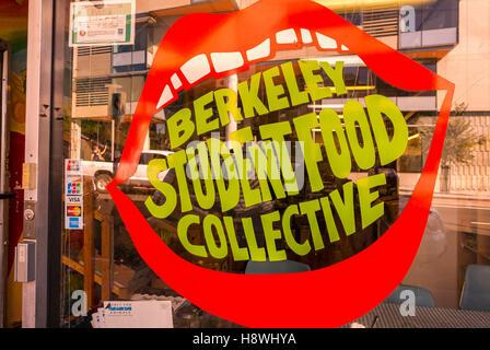 Berkeley, CA, EE.UU., Universidad de California, Berkeley estudiante comida colectiva, Detalle, tienda la ventana Foto de stock