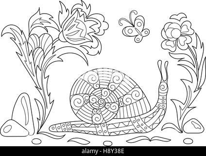 Caracol molusco caricatura para coloring book Foto & Imagen De Stock ...