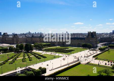 Vista aérea de personas disfrutando del clima soleado en el Jardín de las Tullerías en París. Expansiva, 17th-century jardín formal salpicado de estatuas, entre ellas 18