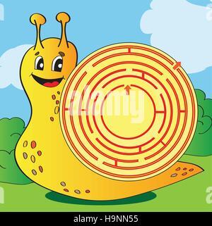 Ilustración vectorial de dibujos animados de educación LABERINTO laberinto o juego para niños con gracioso caracol