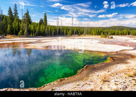 Colorido abismo Pool en el West Thumb Geyser Basin en el Parque Nacional de Yellowstone.