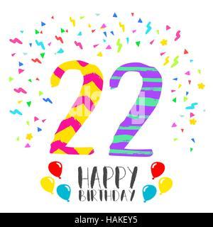 Cumplea os de 22 a os n mero con velas festivas para - Cumpleanos dos anos ...
