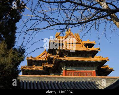 Torreta de esquina ,la Ciudad Prohibida de Pekín, China Foto de stock