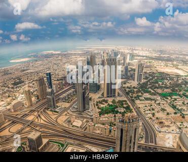 Vista aérea de Dubai (Emiratos Árabes Unidos) Foto de stock