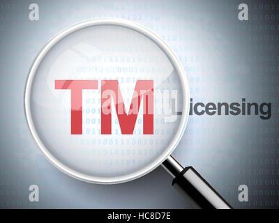 Lupa con icono de marcas y licencias palabra sobre fondo digital