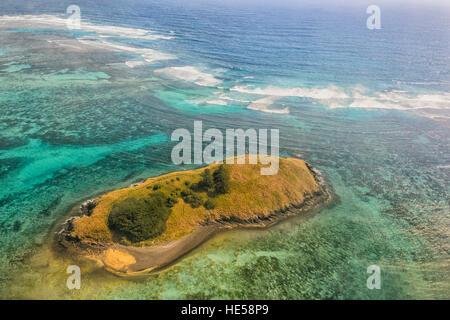 Vista aérea de los arrecifes cerca de la isla de Lord Howe, el Mar de Tasmania, Nueva Gales del Sur (NSW, Australia
