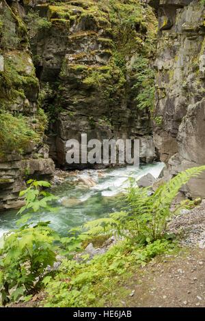 La Coquihalla River en los túneles de Otelo, cerca de la ciudad de esperanza en Canadá Foto de stock
