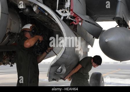 Cpl. Kristine Anderson (derecha) mantiene la puerta del compartimento del motor abierta en un EA-6B Prowler mientras Cpl. Shelby Coville utiliza un atomizador de agua a gran presión durante 14 días de lavado de aeronaves en el suroeste de Asia, 25 de septiembre de 2012. Los aviones de 14 días wash elimina la suciedad y la acumulación de residuos que puedan dañar el avión. Anderson es asignado a la Marina de Guerra Electrónica táctica Dos Squadron y Coville es asignado al Escuadrón de Tácticas de Guerra Electrónica Marina 3. Ambos están desplegados desde la Marine Corps Air Station Cherry Point, Carolina del Norte. El Sargento. Sheila deVera)
