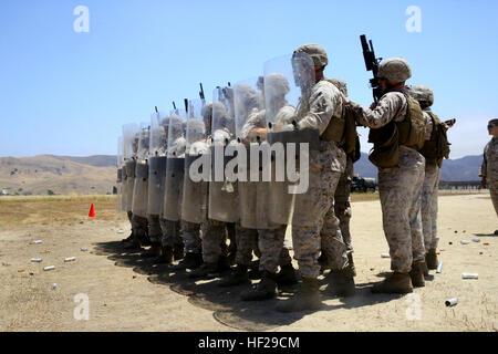 Los infantes de marina con el propósito especial de aire marino suelo Task Force South práctica formaciones antidisturbios Foto de stock