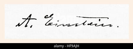 Firma de Albert Einstein, 1879 - 1955. El físico teórico nacido en Alemania. Desde Meyers Lexicon, publicado en Foto de stock
