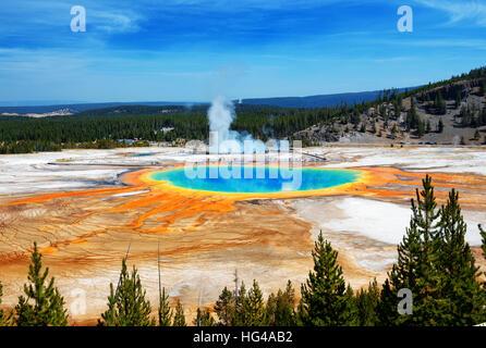 Famoso rastro de Grand Prismatic Springs en el Parque Nacional de Yellowstone desde un alto ángulo de visualización. Hermosas termas con vivos colores azul verde naranja i