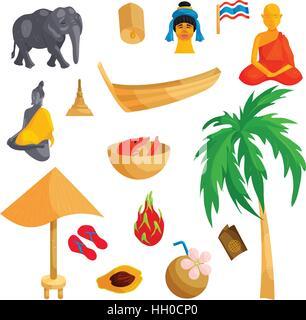 Tailandia, conjunto de iconos de estilo de dibujos animados