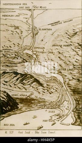 Mapa del Canal de Suez en Egipto, mostrando el camino de agua desde el mar Mediterráneo hasta el Mar Rojo, que fue construido en el siglo XIX por el Canal de Suez, empresa fundada por Ferdinand de Lesseps. El mapa ilustra también la mayoría de las principales rutas de viaje en