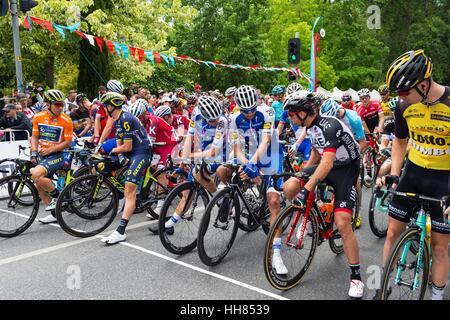 Adelaida, Australia del Sur, Australia. 17 ene, 2016. Corredores a la línea de salida para la etapa 2 del Tour Down Foto de stock