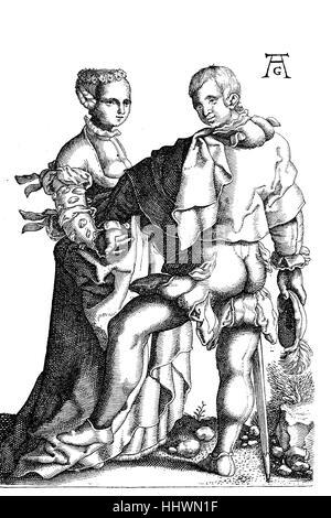 Grabado en cobre de la serie (1502-1562), de la boda de bailarines, Hochzeitstaenzer, por Heinrich Aldegrever, un Foto de stock