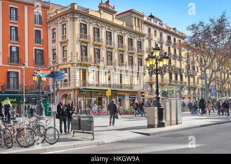 La Rambla, Calle Barcelona, Cataluña, España