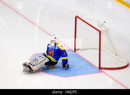 PODOLSK, Rusia - 14 de enero de 2017: el portero no identificado de Ladoga equipo de sledge hockey durante juego Foto de stock