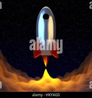 Cohete espacial al universo journy srat. Brilla humo bajo el cromo spaceshift. 3D Render.