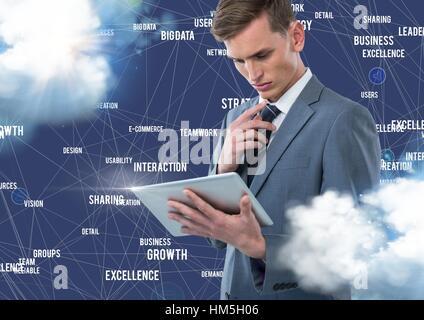 Empresario utilizando tablet digital con iconos de conexión contra el fondo azul con nubes