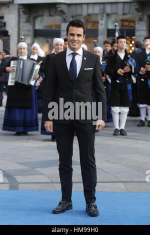 Javier Gómez Noya durante la Princesa de Asturias 2016 en Oviedo, el viernes 21 de octubre de 2016. Foto de stock