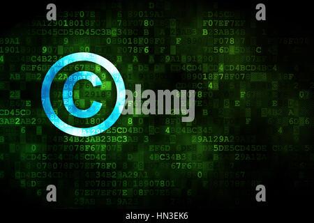 Concepto de Derecho: pixelado Copyright icono de fondo digital, copyspace vacía para la tarjeta, texto, publicidad