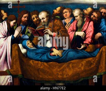 Marco Cardisco (1486-1542). Painer italiano. Dormición de la Madre de Dios. Aceite en la tabla. 1535-40. Museo de Capodimonte. Nápoles. Italia.