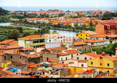 Ciudad Medieval de Bosa y temo river, Cerdeña, Italia