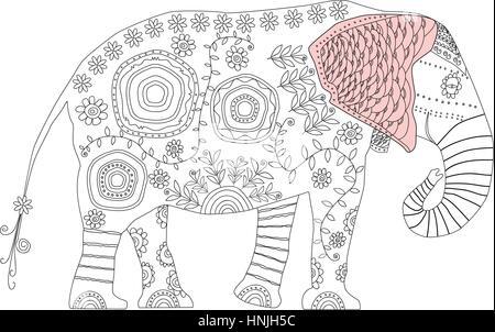 Elefante decorativo. Antiestrés adulto página para colorear ...