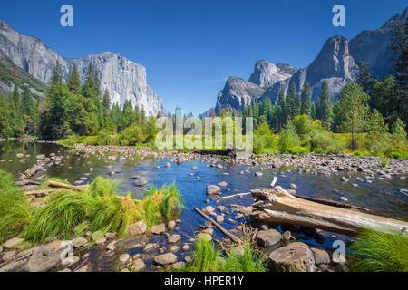 Vista clásica del pintoresco valle de Yosemite con Capitan de carril elevado famoso escalada cumbre y idílico río Merced en un día soleado con cielo azul y nubes en