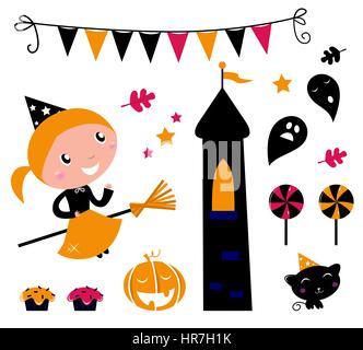 10618058 - cute little halloween witch, diversos elementos para la celebración de vectores.