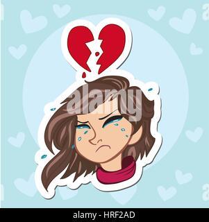 Solitario y triste niña llorando con ponytails y suéter rosa