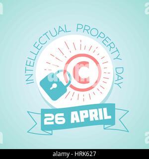 Para cada día del calendario, el 26 de abril. Tarjeta de felicitación. Vacaciones - Día Mundial de la Propiedad Intelectual. Icono del estilo lineal