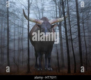 Imagen conceptual con un enorme toro watusi en un misterioso bosque de niebla