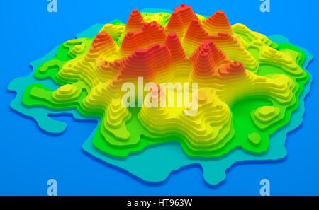 Ilustración 3D. Mapa topográfico de la isla. Elevación en colores de azul a rojo.