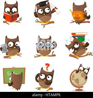 Búho sabio estudio de colección. Con nueve 9 lechuzas en diferentes situaciones como: lectura de Lechuza Lechuza, licenciatura, escuela Lechuza Lechuza, calculadora, gafas ow.