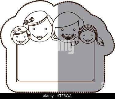 Pegatina contour marco decorativo con rostros familiares