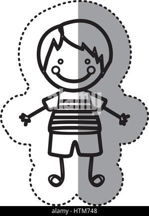 Pegatina silueta boceto caricatura chico con pelo recto