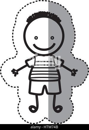 Pegatina silueta boceto caricatura chico con peinado