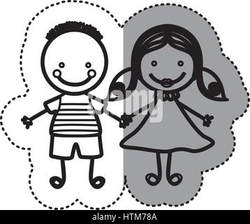 Pegatina silueta boceto caricatura pareja joven con peinado y la chica con el cabello pigtails