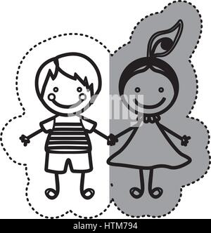Pegatina silueta boceto caricatura pareja chico y chica con cola de cabello
